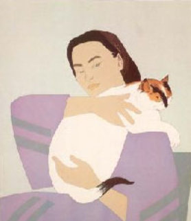 Woman and White Cat  1971 Limited Edition Print by Will Barnet