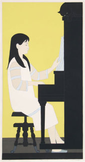 Girl at Piano 1973 41x26 Huge  Limited Edition Print - Will Barnet