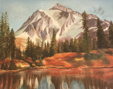 Landscape 1982 32x32 Original Painting - Burt Barr