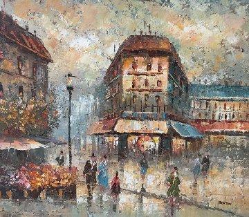 Street Corner 1960 25x29 Original Painting - Edward Barton