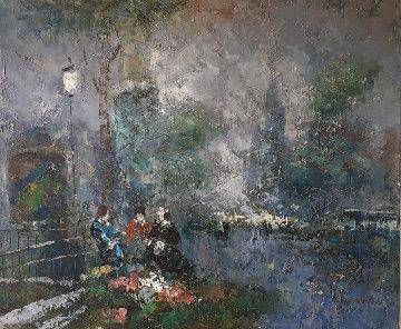 Cityscape 19x23 Original Painting - Edward Barton