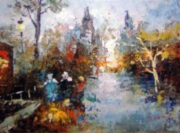 Cityscape 1930 12x15 Original Painting - Edward Barton