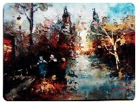 Cityscape 1946 12x15 Original Painting by Edward Barton - 1