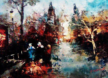 Cityscape 1946 12x15 Original Painting by Edward Barton
