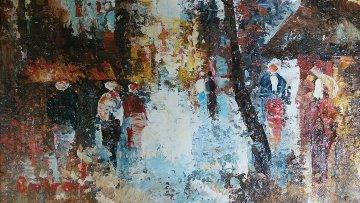 Paris Cityscapes, Set of 2 Paintings 1960 10x12 Original Painting - Edward Barton
