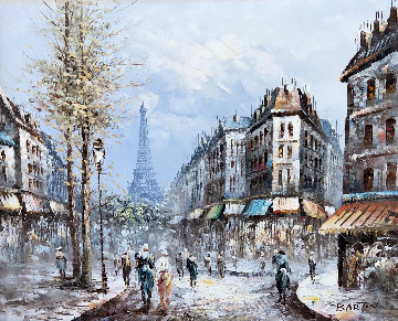 Paris 40x65 Original Painting - Edward Barton