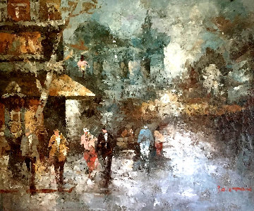Untitled Cityscape 28x32 Original Painting - Edward Barton