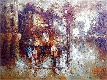 Untitled Parisian Street Scene 37x47  Huge Original Painting - Edward Barton