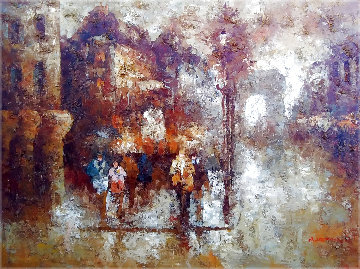 Untitled Parisian Street Scene 37x47  Super Huge Original Painting - Edward Barton
