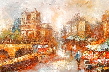 Untitled Parisian Cityscape 1946 42x31 Original Painting - Edward Barton