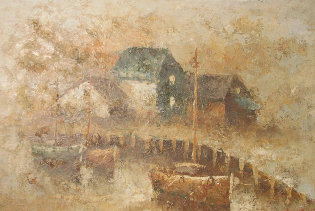 Untitled Wharf Series 1980 70x101 Mural Original Painting by Edward Barton