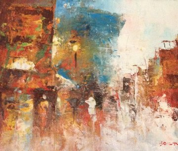 Cityscapes, Two Paintings 6x9 Original Painting by Edward Barton