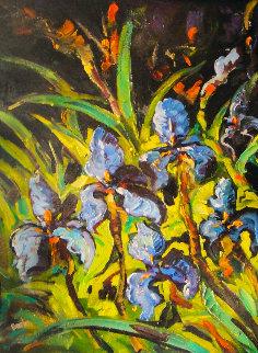 Irises 2008 52x42 Original Painting by Steve Barton
