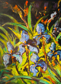 Irises 2008 52x42 Super Huge Original Painting - Steve Barton