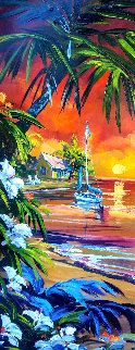 Sunset Beach 2015 42x22 Original Painting - Steve Barton
