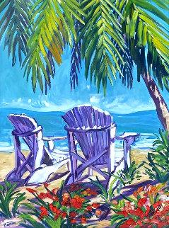 Untitled Seascape 2000 50x40 Huge  Original Painting - Steve Barton