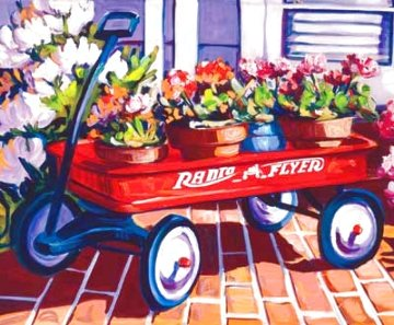 Red Wagon Embellished Limited Edition Print - Steve Barton
