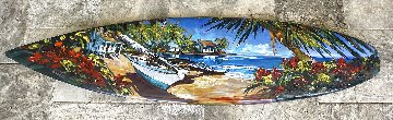 Cat in the Key  (Surfboard Painting) 2015 Huge 20x74 Original Painting - Steve Barton