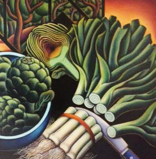 Still Life With Leeks And Artichokes 1994 31x31 Original Painting - Anne Bascove