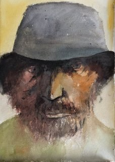 Polish Jew Watercolor 1979 22x15 Watercolor - Leonard Baskin