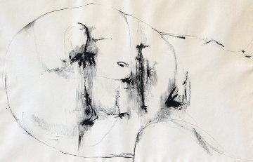 Untitled Drawing of Head 1967 Drawing - Leonard Baskin