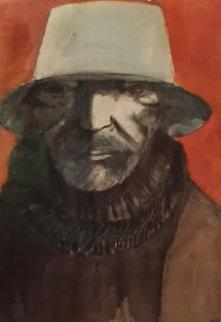 Baskin As Blue Beard Watercolor  1989  32x42  Watercolor - Leonard Baskin