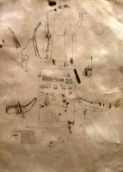 Untitled - Louis Armstrong 1985 24x18 by Jean Michel Basquiat