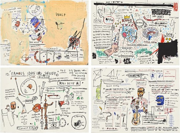 Wolf Sausage, King Brand, Dog Leg Study and Undiscovered Genius: Suite of 4 1982 Limited Edition Print by Jean Michel Basquiat