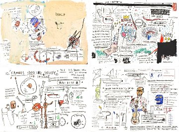 Wolf Sausage, King Brand, Dog Leg Study and Undiscovered Genius: Suite of 4 Limited Edition Print - Jean Michel Basquiat