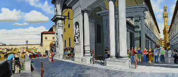 Waiting in Line At the Uffizi, Florence 2005 29x63 Original Painting by Matthew Bates