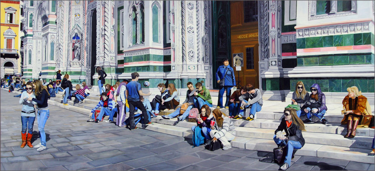 Sitting on the Steps of the Duomo 31x68 2009 31x68 Huge- Florence Italy Original Painting by Matthew Bates