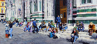 Sitting on the Steps of the Duomo 31x68 2009 31x68 Huge- Florence Italy Original Painting by Matthew Bates - 0