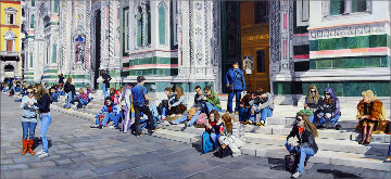 Sitting on the Steps of the Duomo 31x68 2009 31x68 Florence Italy Original Painting - Matthew Bates