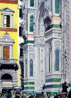 Sitting on the Steps of the Duomo 31x68 2009 31x68 Huge- Florence Italy Original Painting by Matthew Bates - 2