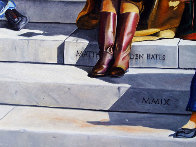 Sitting on the Steps of the Duomo 31x68 2009 31x68 Huge- Florence Italy Original Painting by Matthew Bates - 6