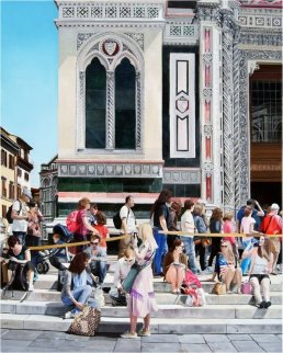 Entering the Duomo 2012 49x39 Super Huge  Original Painting - Matthew Bates