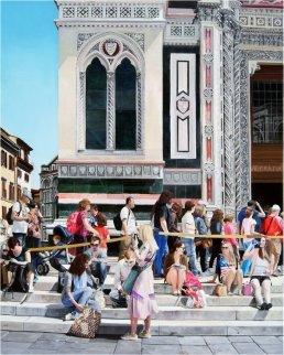 Entering the Duomo 2012 49x39  Huge  Original Painting - Matthew Bates