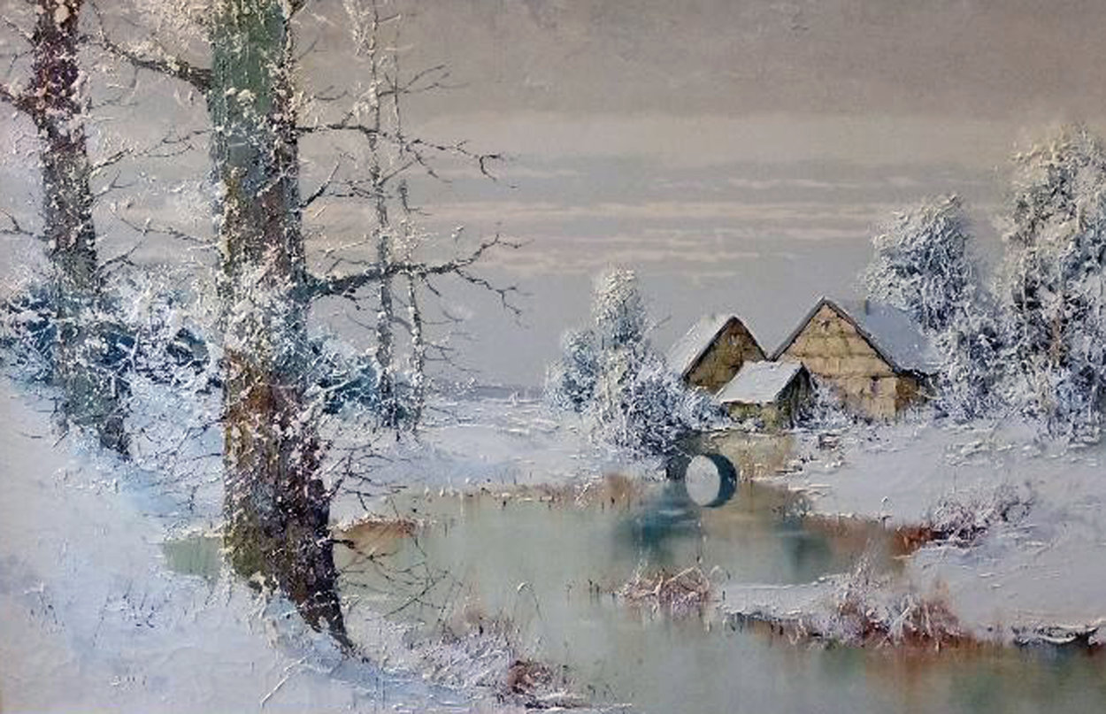 Snowy Homestead 30x42 Huge Original Painting by Willi Bauer