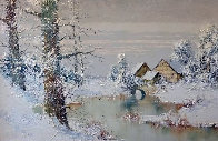 Snowy Homestead 30x42 Huge Original Painting by Willi Bauer - 0