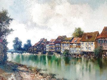 River Village 1987 41x48 Huge Original Painting - Willi Bauer