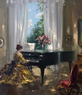 Piano Room 31x27 Original Painting - Hans Becker