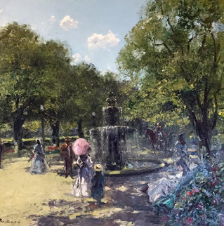 Strolling Near the Fountain 39x39 Original Painting - Hans Becker