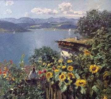 Garden Lakeside 33x37 Original Painting - Hans Becker