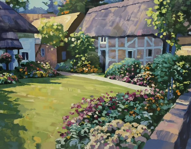 English Garden  1989 Limited Edition Print by Howard Behrens