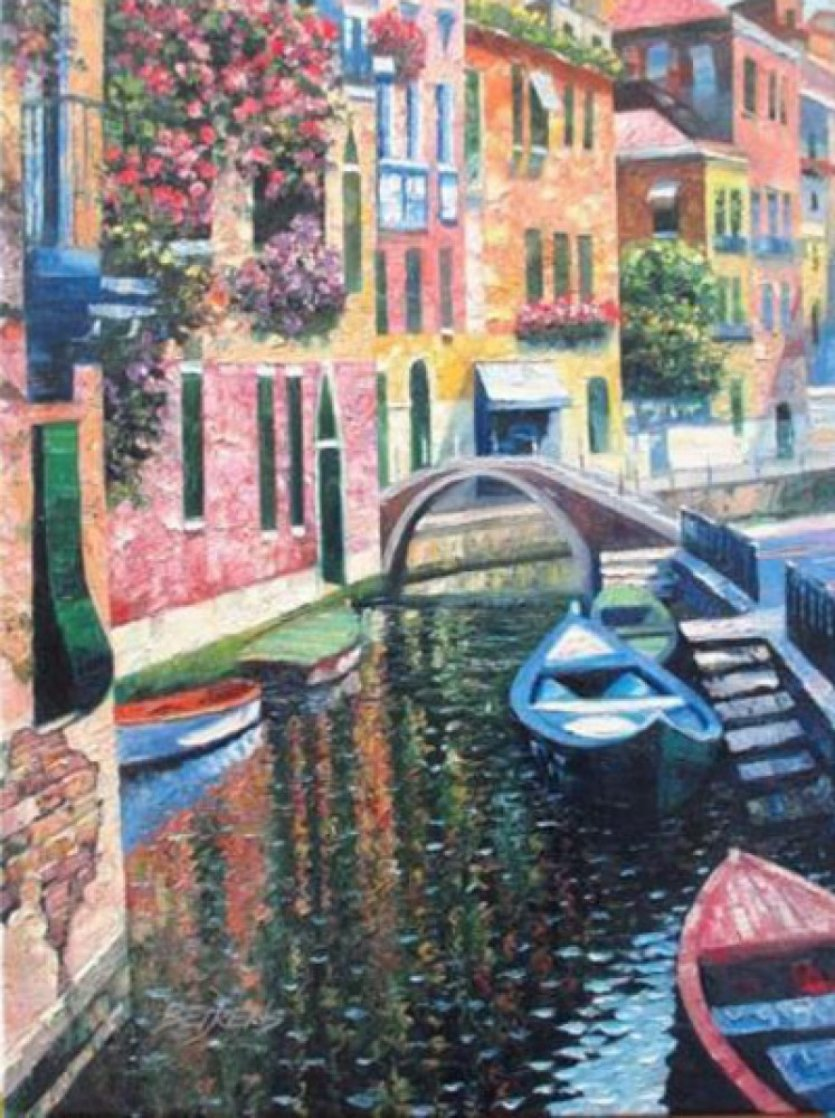 Romantic Canal Embellished 2010 Limited Edition Print by Howard Behrens