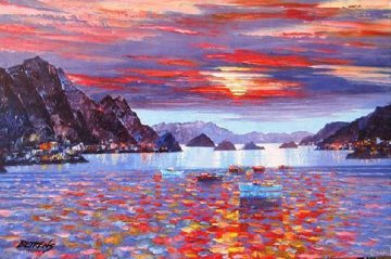 Amalfi Sunset Heavily Embellished 2010 Limited Edition Print - Howard Behrens