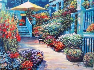 Nantucket Flower Market Embellished 2010 Limited Edition Print - Howard Behrens