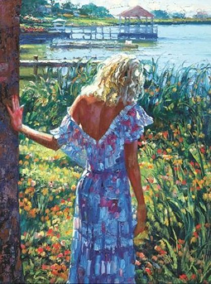 My Beloved by the Lake 2010 Embellished Limited Edition Print by Howard Behrens