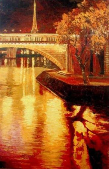 Twilight on the Seine I 2010 Embellished  Limited Edition Print by Howard Behrens
