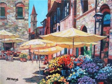 Siena Flower Market Embellished 2010 Limited Edition Print - Howard Behrens